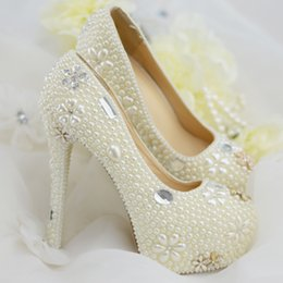 Wholesale Ivory Beaded Wedding Shoes - New Luxurious Pearls Crystals Wedding Shoes White Ivory Custom Made Size 11 cm High Heel Bridal Shoes Party Prom Women Pumps Free Shipping