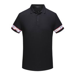 Wholesale imported shirts - 18 Spring and Summer New Casual Polo Shirts High Quality Imported Mercerized Cotton Fabric and Technicolor Knitted Ribbon Spliced Pure Shirt