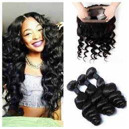Wholesale Three Bundles Hair - Pre Plucked 360 Lace Frontal Closure With 3 Bundles 9A Brazilian Loose Wave Virgin Human Hair Weave With Full Lace Band Frontal