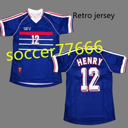 Wholesale custom fonts - 1998 #10 ZIDANE #12 HENRY retro soccer jersey Right Flocking FONT best quality 98 FRENCH shirt Throwback football jersey can custom