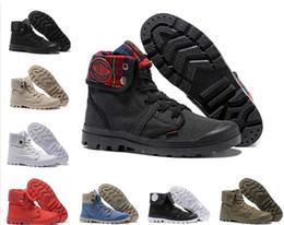 b7ecf4e92b0 Sapatos de grife 14 cor PALLADIUM Pallabrouse Homens de Alta-top Ankle  boots Militar Do Exército Tênis de Lona Sapatos Casuais Homem Anti-Slip  Sapatos ...