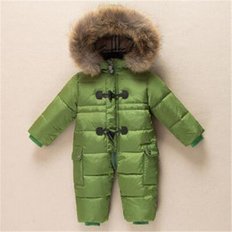 kids boy white clothes Coupons - Winter New born Baby Clothes Conjoined Down Jacket Baby Boys Girls Thickening Jumpsuits with Real Fur Kids Snow Suit 0-3 Years