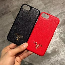 Wholesale Iphone Cases Luxury Logo - Luxury brand leather texture metal LOGO mobile phone case for iphone X 7 7plus 8 8plus hard back cover for iphone 6 6S 6plus 6Splus