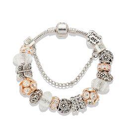 Custom bracelet online-17 a 21 CM Charm Bracelet 925 Silver para mujeres 18 K Rose Gold Pulsera White Crystal Beads Jewelry con logotipo personalizado