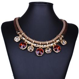 Canada 4 couleurs déclaration collier tour de cou imitation pierres précieuses pendentif - cadeau de bijoux de fête pour femme - Vintage Boho Maxi collier Offre