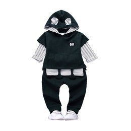 Wholesale Three Piece Boys Hooded Outfit - 2018 Fashion Children Boy Girl Clothing Outfits Spring Autumn Baby Short Sleeve Hoodies T-shirt Pants 3 Pcs sets Cartoon Clothes