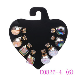 Wholesale candy silver balls - 3 set Cute Transparent Candy Color Sequin Double Side Round Pearl Women Earrings Pendant Resin Crystal Ball Ear Studs E0826-4
