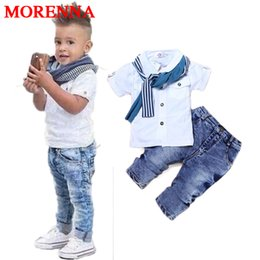 Wholesale Shorts For Toddler Boys - MORENNA Baby Boy Clothes Casual T-Shirt+Scarf+Jeans 3pc Baby Clothing Set Summer Child Kids Costume For Boys 2017 Toddler Boys Clothes