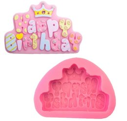 Wholesale Happy Birthday Crown - Happy Birthday Crown Letter fondant cake Decoration mold baking tools 11.9x8.4x2cm DIY handmade Chocolate Silicone mold E377
