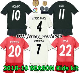ronaldo grey jersey Promo Codes - 18 19 kids Real madrid Jersey Home away soccer Kits Adult RONALDO ASENSIO MODRIC BALE RAMOS ISCO NAVAS KROOS BENZEMA child Football Shirt