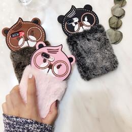 Wholesale Rex Cover - Korea cute glasses bear for iphoneX phone case Rex rabbit plush fur new for iphone 8plus protective cover