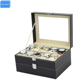 Wholesale Window Dressings - New Black Double Layer Lock Dispaly Storage Case Box Window Sunglass Black Sew Leather Gift for Men Women Collect Box WBG1096