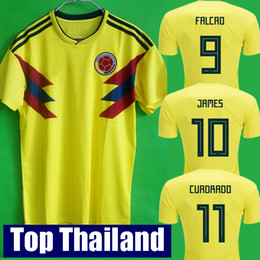Wholesale Men S Tops - Top thailand National JAMES 10 COLOMBIA soccer jerseys 2018 World Cup Jersey FALCAO CUADRADO BACCA Football soccer shirt camisetas maillot