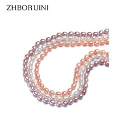Wholesale Sterling Silver Chokers For Women - ZHBORUINI 2017 Necklace Pearl Jewelry Natural Freshwater Pearl 6-7mm Rice 925 sterling silver Jewelry Choker Necklace For Women