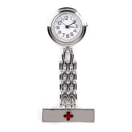 Wholesale Hanging Brooch - Round Dial Red Cross Nurse Watch Silver Gold Brooch Fob Quartz Clip on Hanging Medical Pocket Watches Montre Gift 3 Colors