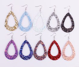 Wholesale rainbow dangle earrings - Bohemia Style Rainbow Glitter Cut Out Teardrop Frame Pu Leather Earrings 2018 Summer Fashion Glitter Water Drop Leather Statement Earrings
