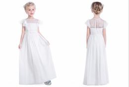 Wholesale new model dresses for kids - New Arrival Beach Style Flower Girls Dress Cheap Long Empire 2018 Chiffon Short Sleeves Lace For Weddings Bridal Kids Little Girls Dress