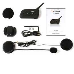 Wholesale Rider Pc - 1 pcs V6 Bluetooth Motorcycle Helmet Intercom Speaker Headphone 1200M 6 Riders Wireless BT Interphone Headset Support Mp3 Music