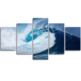 Wholesale Wave Panel Painting - MingTing - 5 Panel Canvas Wall Art Sea Waves Landspace Poster Painting Modern Home Decor For Living Room Aisle No Frame