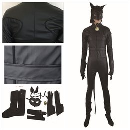 Wholesale Cats Performance - 6PCS Per Set Cat Noir Cosplay Ladybug Costume Anime Jumpsuits Full Set Including Eye Mask Ring Leather Clothing