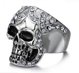 Wholesale Vintage Wing Ring - Skull Ring Men's Vintage Gothic Stainless Steel Rings Skull Wings Motorcycle Biker Rings with CZ Size 8-12 Hot sale