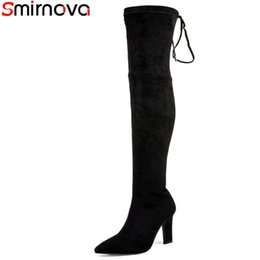 flock band Promo Codes - Smirnova 2018 new over the knee boots pointed toe thick high heels boots with narrow band flock+stretch fabric women