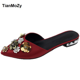 wedding silk flats Coupons - Flat sandals women satin flower shoes for  wedding summer point toe 1f98f0b6bce9