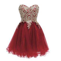Imagens prom vestido vermelho vestidos on-line-Vestidos curtos de baile 2019 Borgonha Festa de boas vindas Cockatil Red Blue Pageant Vestidos Vestido Real image Dubai Beads Pérolas Lace Up Barato
