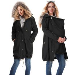 Primavera mujer abrigos de piel online-2018 maternidad abrigo chaqueta canguro Outfit primavera otoño ropa madre piel Outwear mujer embarazada con Baby Carrier Coat C27 10