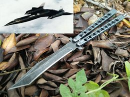 Wholesale Bird Hunting - OEM balisong butterfly the one black bird Lockheed D-21 stonewash carbon fiber 58HRC Full Steel Gift Collection Knife 1pcs freeshipping