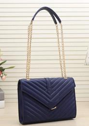 Disegno doppio della catena dell'oro online-Borse a tracolla di design di lusso in pelle doppia catene d'oro Diamond Lattice sera borsa cross body bag # 2019 borse borsa totes borsa