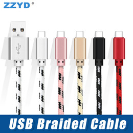 Wholesale notes house - ZZYD 3FT USB Type C Cable Metal Housing Braided Micro Charing Cord for Samsung S8 Note 8 Any Smart Phone
