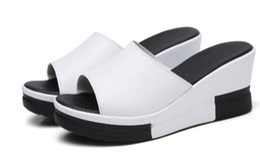 Wholesale Leather Platform Slide - vWomen Sandals 2017 Summer Genuine Leather Shoes Woman Flip Flops Wedges Fashion Platform Female Slides Ladies Shoes Peep Toe nx2a44