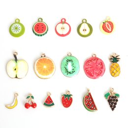 hot sell 3 5pcs colourful drop oil zinc alloy fruit charm pendants for diy earring bracelet craft making enamel fashion jewelry diy crafts sell for sale