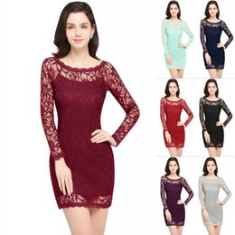 Wholesale Stock Mothers Dresses - Real Picture 2018 In Stock Short Lace Cocktail Dress Sheath Crew See Through Long Sleeves Mini Club Dress Mother Dress CPS630