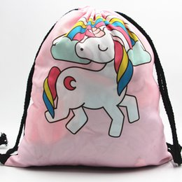 wholesale shoe shops Coupons - Storage Bag Unicorn 3D Digital Printed Fashion New Women Drawstring Shopping Shoulder Bag Beach Travel Girls Shoes Bags QW895300