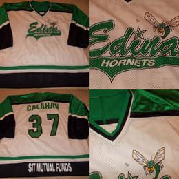 Wholesale Games High School - VTG-Edina Hornets Minnesota High School Game WornUsed Hockey Jersey 100% Stitched Embroidery Logos Throwback Hockey Jerseys
