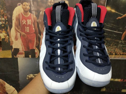 Wholesale update gold - 2018 New Updated Penny Hardaway USA Olympic Classics White Blue Red Foams 1 Basketball Shoes Top Foam One Designer Sport Sneakers Size 40-47