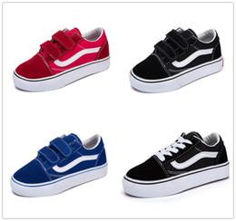 Chico cortado online-Vans Old Skool low-top CLASSICS 2018 Nuevos niños zapatos infantil clásico viejo skool niños niñas negro blanco rojo bebé niños zapatillas de skate deporte zapatillas 22-35
