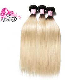 2019 all'ingrosso remy dei capelli all'ingrosso Bellezza per sempre capelli peruviani brasiliano tessuto dritto 3 pacchi Ombre T1B 613 Remy estensione dei capelli umani al 100% all'ingrosso a buon mercato Bulk Two Tone all'ingrosso remy dei capelli all'ingrosso economici