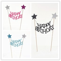 design cakes cupcakes Coupons - English Letter Happy Birthday Design Cake Flag Wooden Pole Non Toxic Tag For Cup Cake Baking Decoration Tools Hot Sale 1 5hw Z