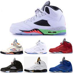 reputable site 87ea0 98383 Retro Air Jordan 5 5s Nike AJ5 Basketball Schuhe 5 5 s OG Schwarz Metallic  3 Mt Reflektieren Traube Oreo männer schuhe Rot Blau Suede internationalen  flug ...