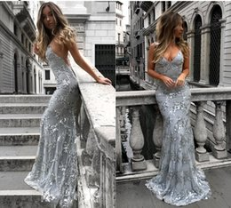 Wholesale maternity long - 2018 New Sequined Lace Mermaid Cheap Prom Dresses Long Backless Criss Cross Floor Length Spaghetti Straps Formal Party Evening Gowns