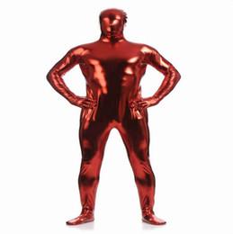 (MZS026) Collant metallizzati lucidi rosso scuro per i classici costumi di halloween Abiti unisex originali Fetish Zentai da