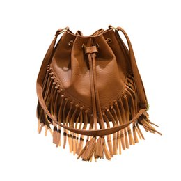 Wholesale Large Gray Leather Handbag - Fashion Bag Black Gray Pink Brown Tassel Fringe Bucket Crossbody Bags for Women Leather Handbags Female Large Capacity Shoulder Bag Handbag