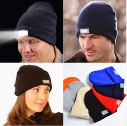 Wholesale Crochet Bonnets - 2018 New Design Unisex LED Light Winter Warm Knitting Caps Women Aports Hats Beanies Bonnet Gorros Hombre Hats free shipping