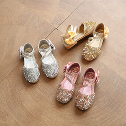 Wholesale Summer Leather Sandals For Girls - baby girl leather princess shoes children summer sequin shoes for girls sandals kids lovely style bow fashion sandals