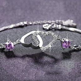Canada Femme Améthyste Coeur Bracelet S925 Argent Mode Violet Diamant Blanc Diamant Bijoux Bracelet En Gros Chaîne Longueur 16 cm Extension 3 cm cm cheap amethyst diamond bracelet Offre