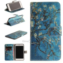 Wholesale Blossom Cards - Apricot Blossom Pattern Card Holder with Stand Flip Magnetic Full Body Cover Pu+Tpu Leather Wallet Case for Iphone 7 Plus 8 Plus 5.5 Inch Pr