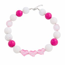 Wholesale chunky necklaces for babies - Cute Pink Bubblegum Bead Newest Design Handmade DIY Jewelry Kid Chunky Necklace Baby For Children